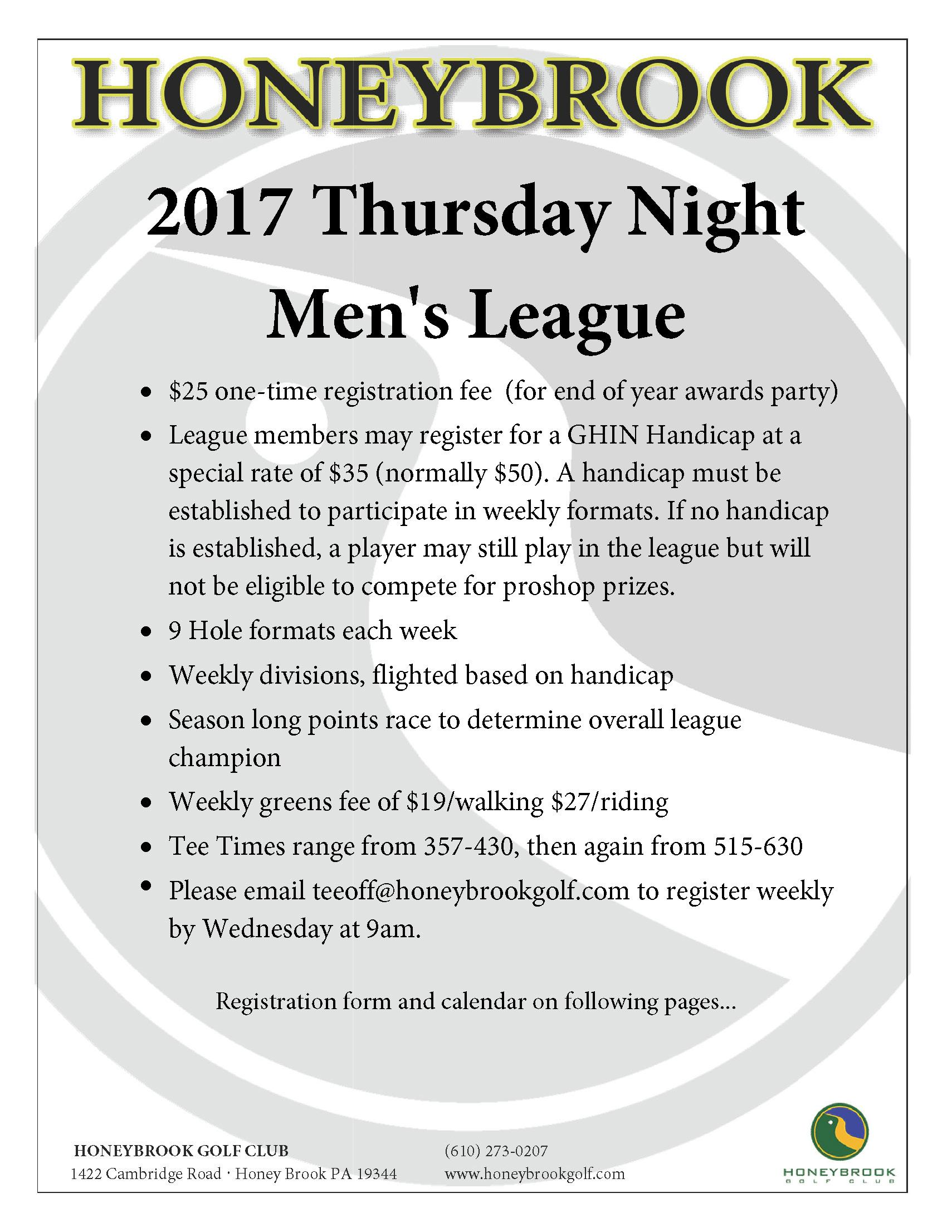 2017 Thursday Night Mens League Page 1