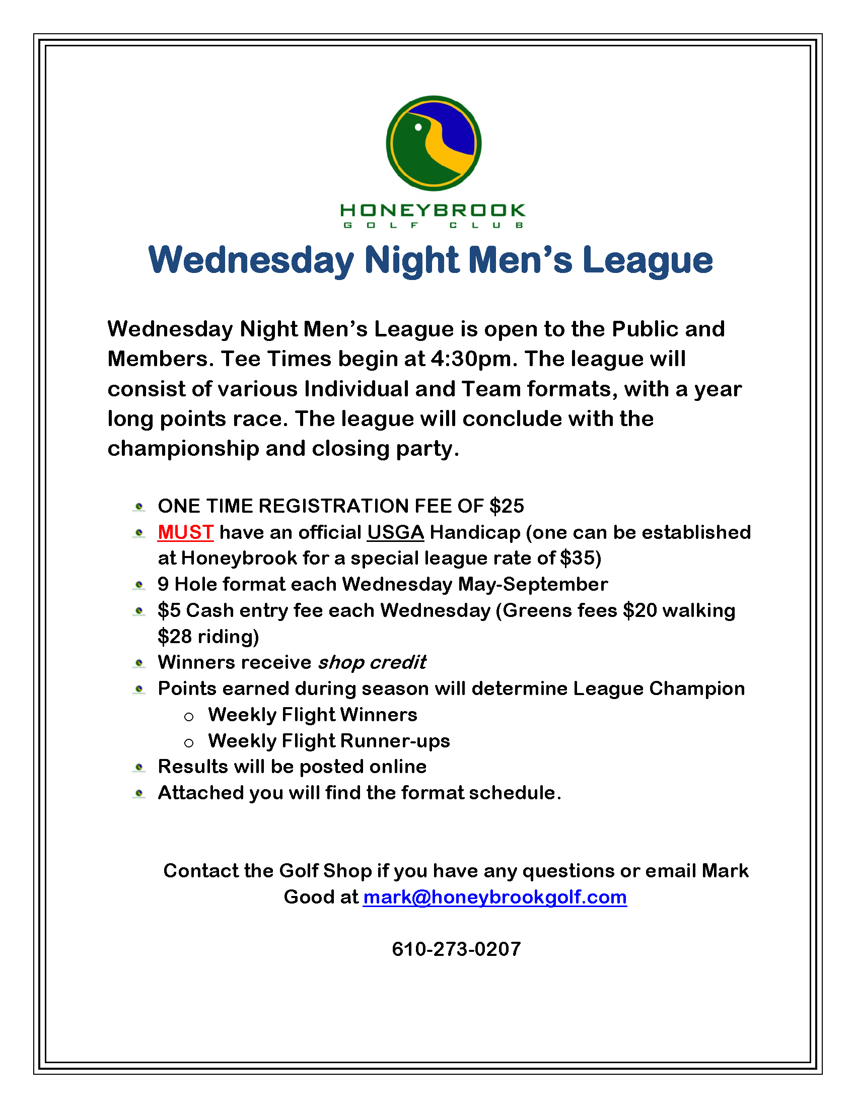 2018 Wednesday Night league Page 1
