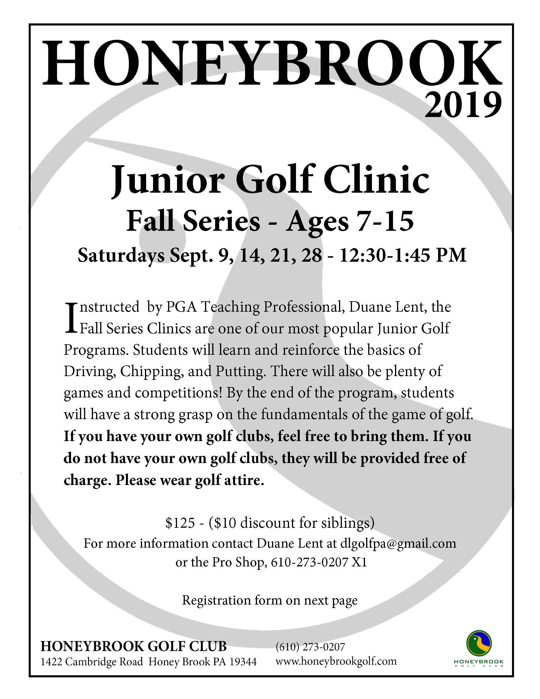 2019 Junior Golf Clinic Fall Page 1