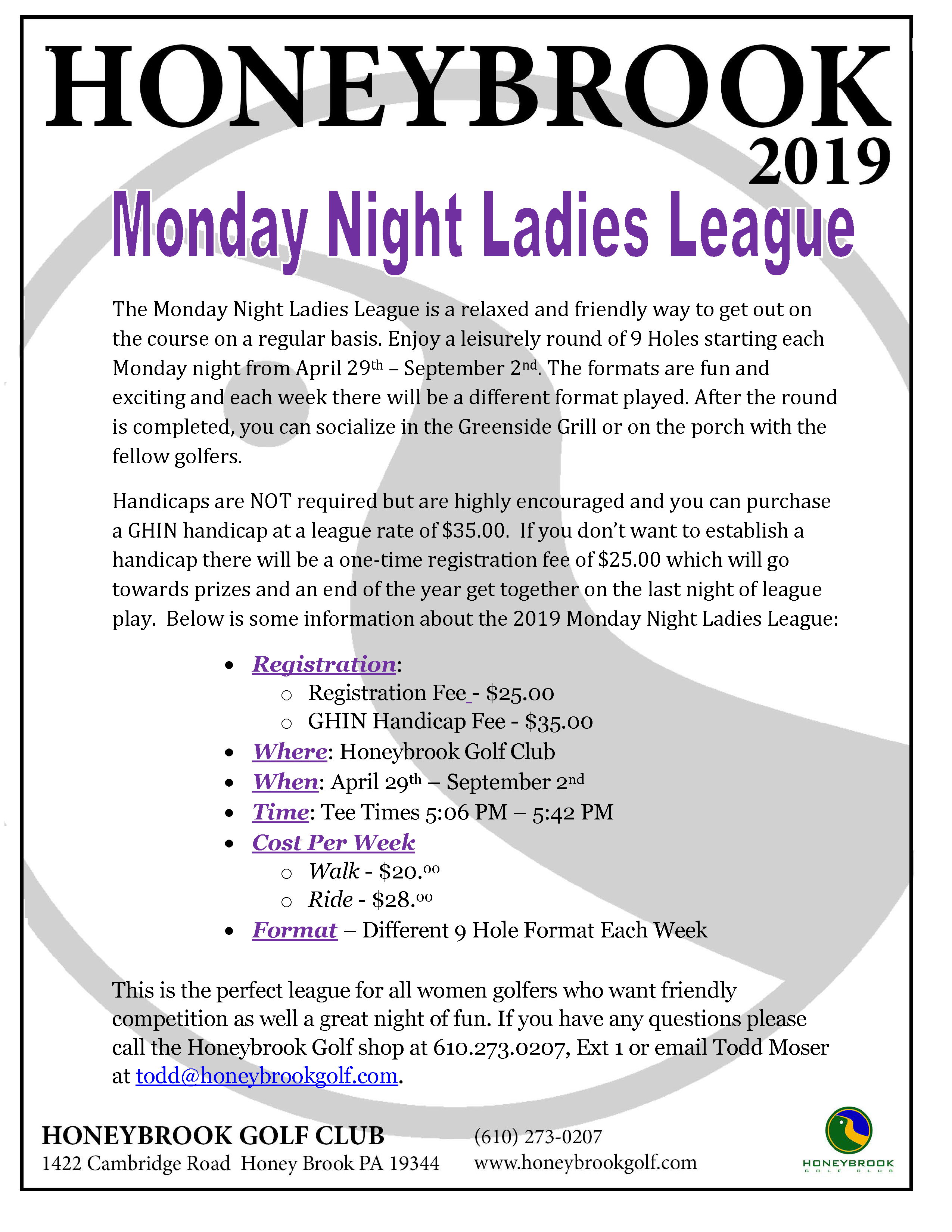2019 Monday Night Ladies League Page 1