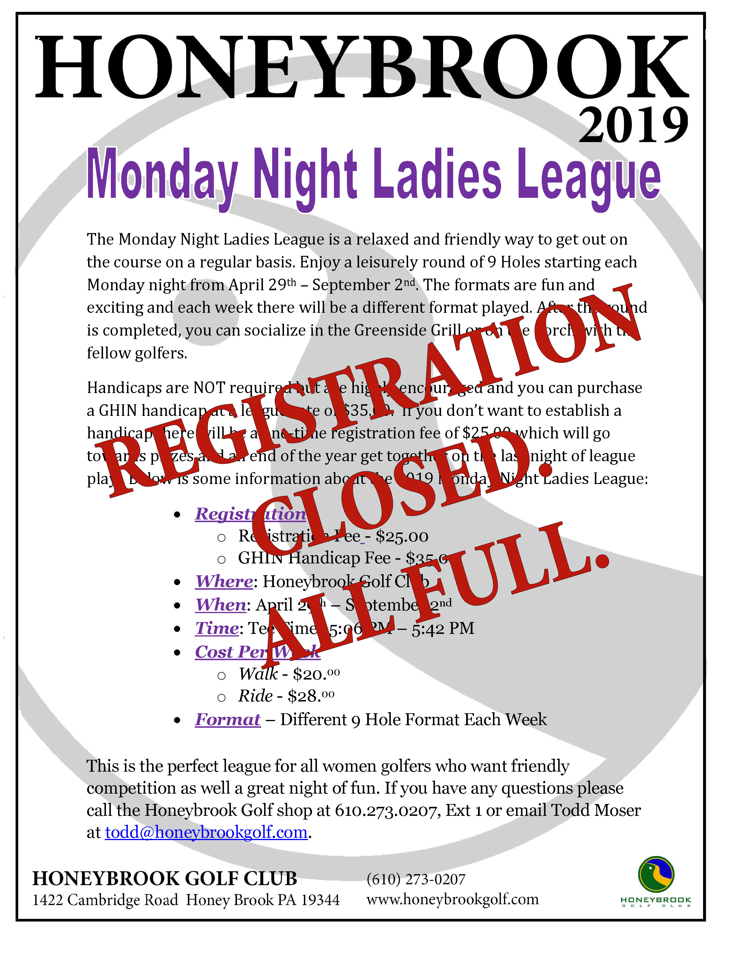 2019 Monday Night Ladies League Page 1CLOSED