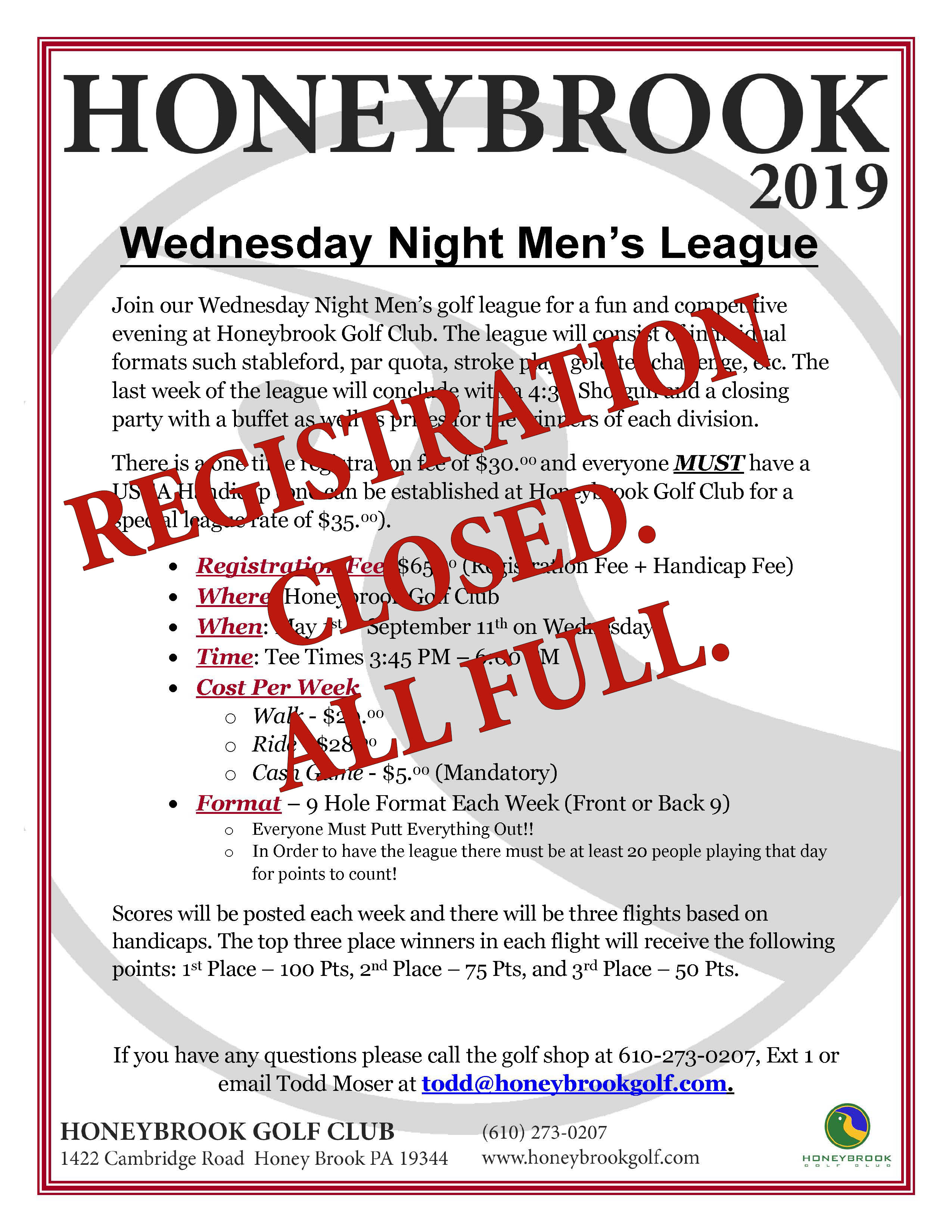 2019 Wednesday Mens League Page 1 CLOSED