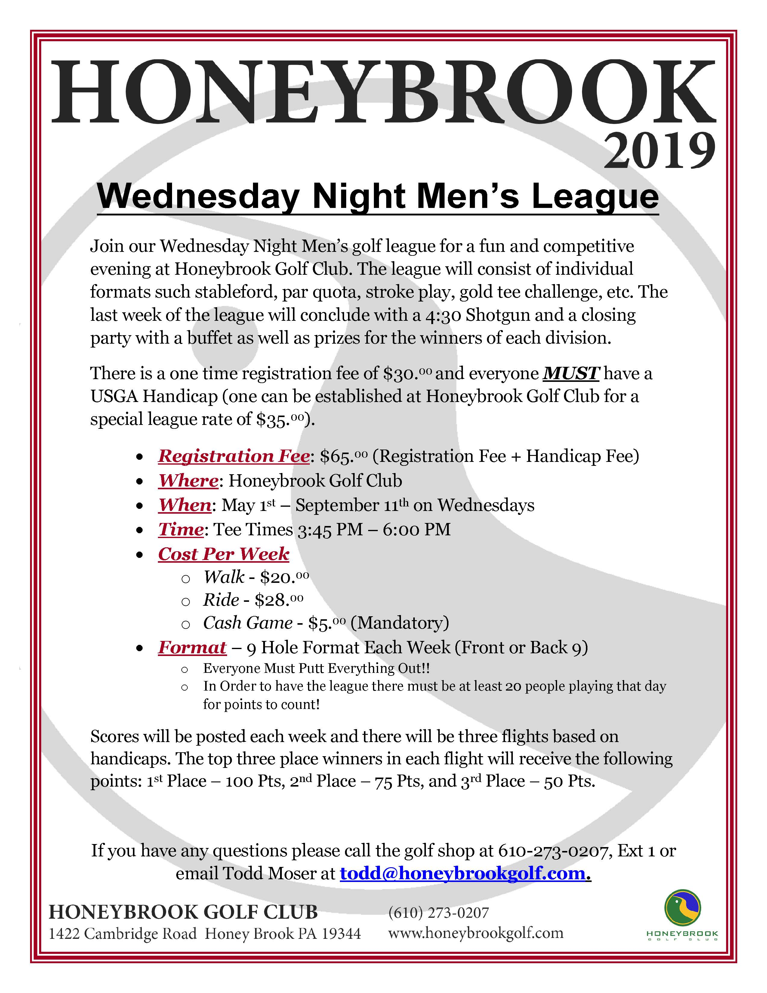2019 Wednesday Mens League Page 1