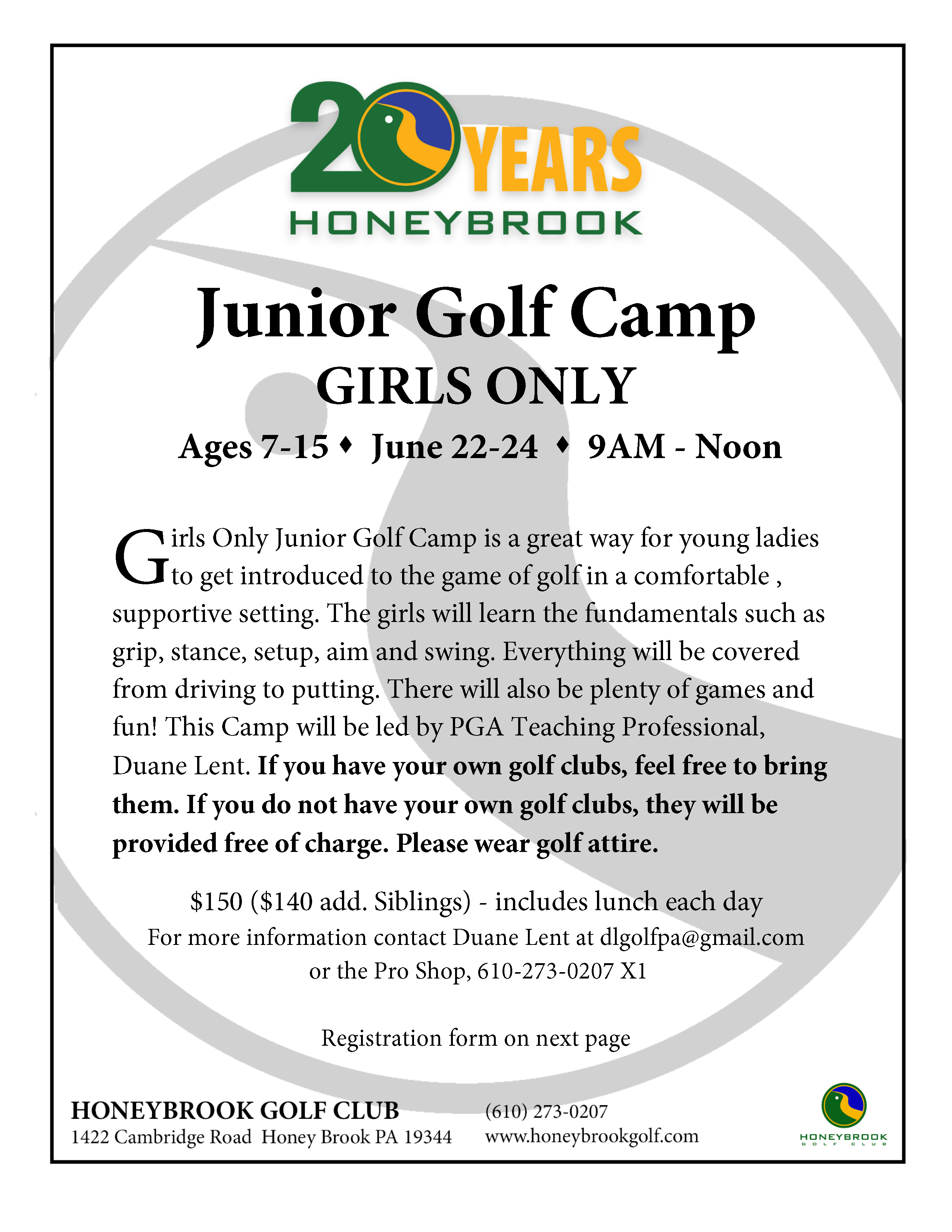 2019 Junior Golf Camp GIRLS ONLY Page 1