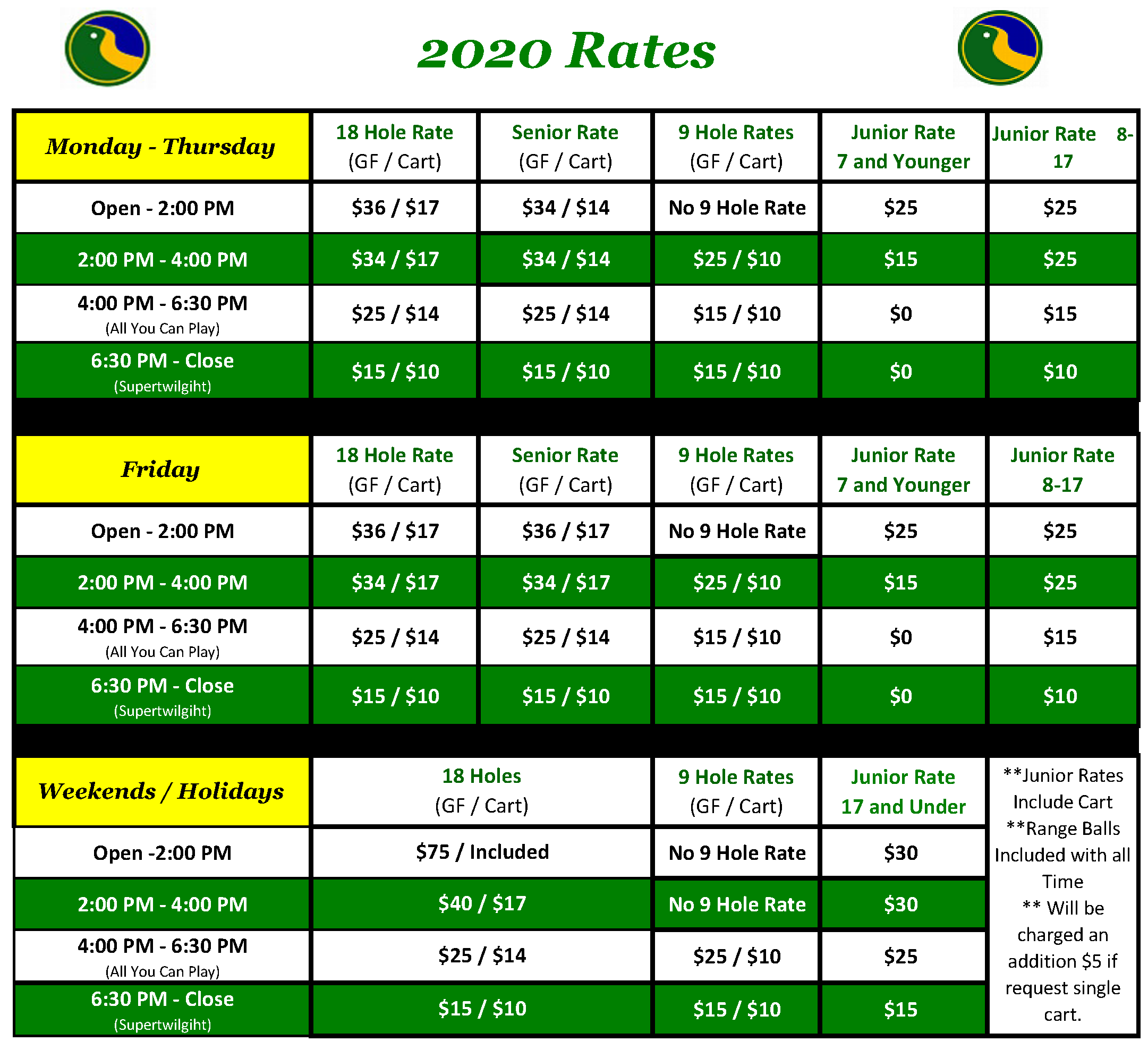 2019 Rates Updated