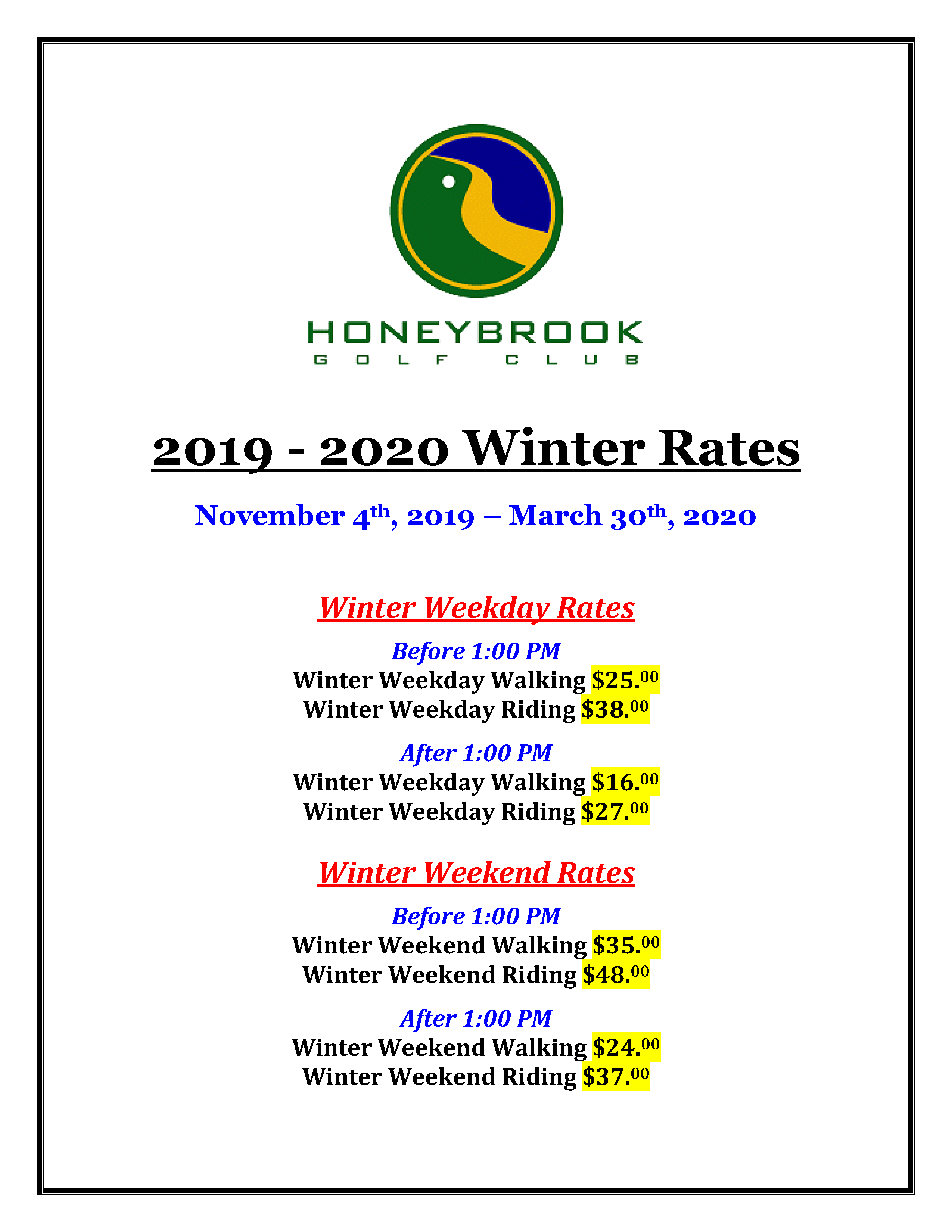 Winter Rates 2019 2020